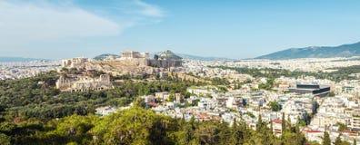 雅典空中全景有上城小山的,希腊 库存图片