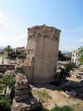 雅典,古老水塔的看法 免版税库存照片