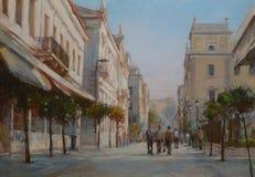 雅典,希腊,手工制造绘画街道  库存图片