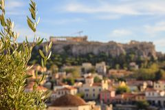 雅典,希腊 在蓝天背景的Hephaestus寺庙 免版税库存照片