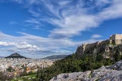 雅典,希腊 市的全景雅典,上城, Lycabettus 库存图片