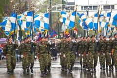 雅典,希腊-希腊军队的战士在希腊的美国独立日的期间是一每年国庆节 库存照片