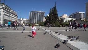 雅典,希腊- 11 04 2018年:人们和鸽子在雅典,希腊临近议会和结构体正方形 影视素材