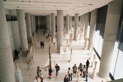 雅典,希腊- 2017年11月15日:新的上城博物馆的内部看法在雅典 设计由瑞士法语 图库摄影