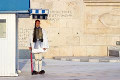 雅典,希腊- 2018年8月15日:Evzoni卫兵,希腊语主持 库存图片