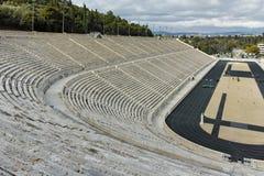 雅典,希腊- 2017年1月20日:Panathenaic体育场或kallimarmaro惊人的看法在雅典 图库摄影