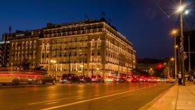 雅典,希腊- 23 05 2018 - 旅馆重创的不列塔尼在结构体正方形-时间间隔录影附近的市中心 股票视频