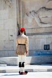 雅典,希腊- 2016年6月06日:evzone照片从后面的我 免版税库存照片