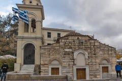 雅典,希腊- 2017年1月20日:Monastiraki广场,雅典,希腊全景  库存图片