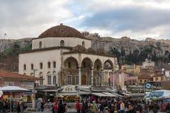 雅典,希腊- 2017年1月20日:Monastiraki广场,雅典,希腊全景  免版税库存照片