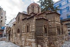 雅典,希腊- 2017年1月20日:Panaghia Kapnikarea教会在雅典,希腊 免版税库存图片
