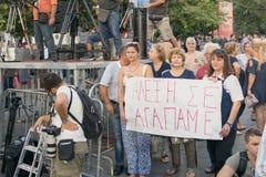雅典,希腊2015年9月18日 人们为希腊的阿列克西斯・齐普拉斯总理公开讲话被会集 库存照片