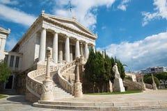 雅典-丹麦建筑师设计的国立图书馆Theophil Freiherr冯汉森 免版税库存图片