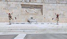 雅典更改的卫兵 图库摄影