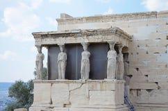 雅典cariatids erechtheion帕台农神庙 图库摄影