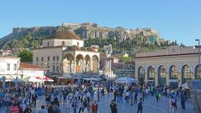 雅典monastiraki正方形 库存照片