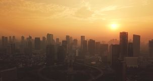 雅加达空中风景街市在黄昏 股票视频