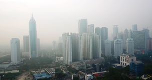 雅加达街市与摩天大楼和雾 影视素材