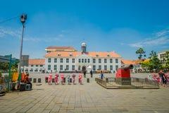 雅加达,印度尼西亚- 2017年3月3日, :雅加达历史博物馆大厦如被看见从广场在一个美好的晴天 免版税库存照片