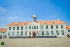 雅加达,印度尼西亚- 2017年3月3日, :雅加达历史博物馆大厦如被看见从广场在一个美好的晴天 免版税库存图片