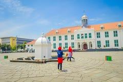 雅加达,印度尼西亚- 2017年3月3日, :雅加达历史博物馆大厦如被看见从广场在一个美好的晴天 库存照片