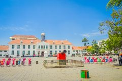雅加达,印度尼西亚-雅加达历史博物馆大厦如被看见从广场在一个美好的晴天 库存照片