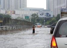 洪水雅加达 免版税库存图片