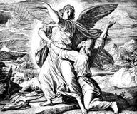 雅各布与天使搏斗 图库摄影