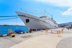 雅尔塔,乌克兰- 5月17 :在口岸的船艾德里安娜 图库摄影