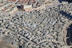 集中于上部城市家的古老耶路撒冷模型 库存图片