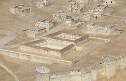 集中于贝塞斯达水池的古老耶路撒冷模型  免版税库存图片