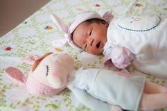 集中在有精密头饰带的女婴,当打瞌睡和使用与逗人喜爱的玩偶于床时 新出生的女孩是与逗人喜爱的玩偶的睡眠 库存图片