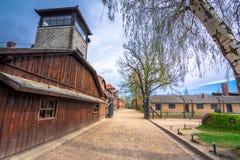 集中营奥斯威辛的主闸与题字工作的使您自由 图库摄影