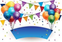集会与气球的新年好标志并且下垂背景 库存照片