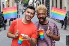 集会两个的同性恋者户外 库存照片