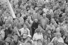 集会在莫斯科在8月1991年 免版税库存照片
