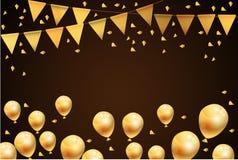 集会新年好气球并且下垂金背景 图库摄影