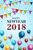 集会新年好2018颜色气球并且集会旗子背景 免版税库存图片