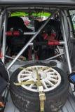 集会汽车的备用轮胎 库存图片