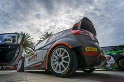 从集会RACC萨洛角,西班牙的WRC汽车 库存照片