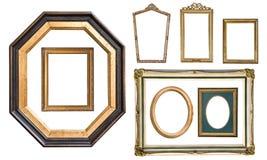 集合与在白色隔绝的装饰品的葡萄酒银色长方形框架 库存图片