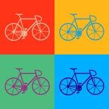 集合五颜六色的固定自行车 库存照片