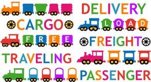 集合五颜六色的被隔绝的玩具火车 皇族释放例证