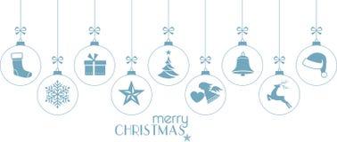 1512002件集合冰蓝色垂悬的圣诞节装饰品 免版税库存图片