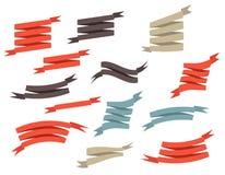 集合减速火箭的丝带和标签向量例证 免版税库存图片