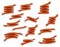 集合减速火箭的丝带和标签导航例证 免版税库存照片