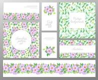 集合包括的两无缝的花卉样式、叶子边界和欢迎或者贺卡 婚礼,母亲的生日 免版税图库摄影