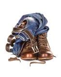 集合包括的牛仔裤传送带和袋子 库存照片