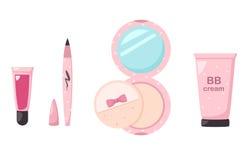 集合化妆用品的例证 免版税库存照片