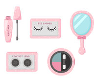 集合化妆用品的例证 免版税库存图片